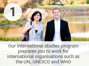 Our international studies program prepares you to work for international organisations such as the UN, UNESCO and the World Health Organisation.