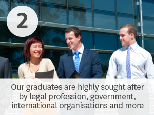 Our law graduates are highly sought after by employers in the legal profession and other industries.